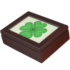 Green Shamrock Four leaf Clover Hearts Keepsake Box