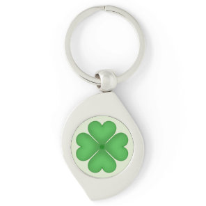 Green Shamrock Four leaf Clover Hearts Keychain