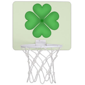 Green Shamrock Four leaf Clover Hearts Mini Basketball Backboard