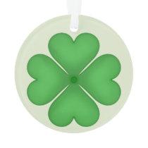 Green Shamrock Four leaf Clover Hearts Ornament