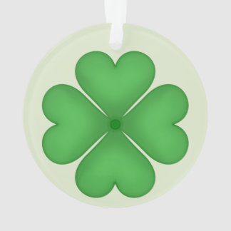 Green Shamrock Four leaf Clover Hearts Ornament