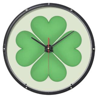 Green Shamrock Four leaf Clover Hearts pattern Aquavista Clock