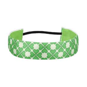 Green Shamrock Four leaf Clover Hearts pattern Athletic Headband