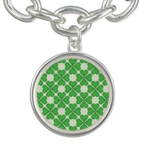 Green Shamrock Four leaf Clover Hearts pattern Bracelet