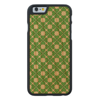 Green Shamrock Four leaf Clover Hearts pattern Carved Cherry iPhone 6 Slim Case