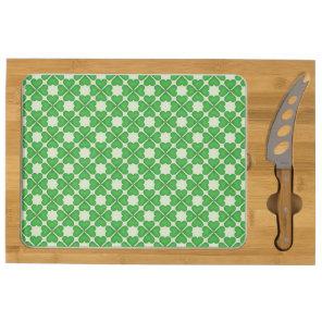 Green Shamrock Four leaf Clover Hearts pattern Cheese Board
