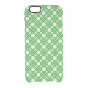 Green Shamrock Four leaf Clover Hearts pattern Clear iPhone 6/6S Case