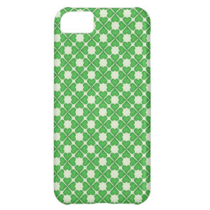 Green Shamrock Four leaf Clover Hearts pattern Cover For iPhone 5C
