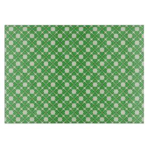 Green Shamrock Four leaf Clover Hearts pattern Cutting Board