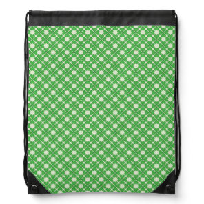 Green Shamrock Four leaf Clover Hearts pattern Drawstring Backpack