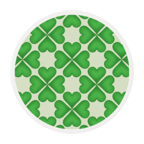 Green Shamrock Four leaf Clover Hearts pattern Edible Frosting Rounds