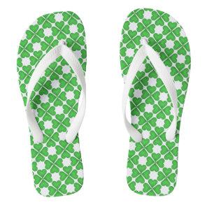 Green Shamrock Four leaf Clover Hearts pattern Flip Flops