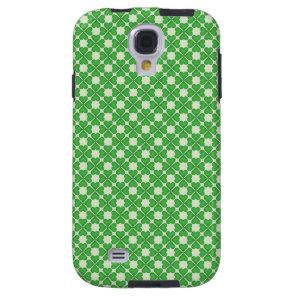 Green Shamrock Four leaf Clover Hearts pattern Galaxy S4 Case