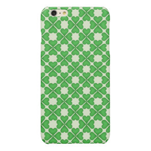 Green Shamrock Four leaf Clover Hearts pattern Glossy iPhone 6 Plus Case
