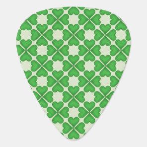 Green Shamrock Four leaf Clover Hearts pattern Guitar Pick
