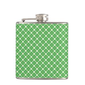 Green Shamrock Four leaf Clover Hearts pattern Hip Flask