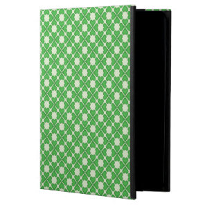 Green Shamrock Four leaf Clover Hearts pattern iPad Air Cover