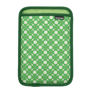 Green Shamrock Four leaf Clover Hearts pattern Sleeve For iPad Mini