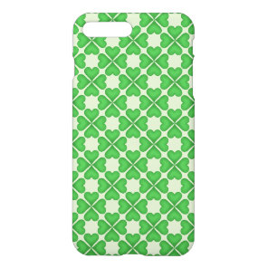 Green Shamrock Four leaf Clover Hearts pattern iPhone 8 Plus/7 Plus Case