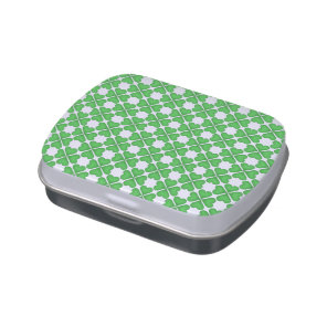 Green Shamrock Four leaf Clover Hearts pattern Jelly Belly Tin