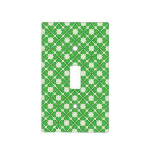 Green Shamrock Four leaf Clover Hearts pattern Light Switch Cover