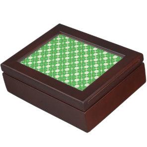 Green Shamrock Four leaf Clover Hearts pattern Memory Box