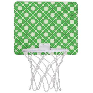 Green Shamrock Four leaf Clover Hearts pattern Mini Basketball Hoop