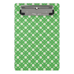 Green Shamrock Four leaf Clover Hearts pattern Mini Clipboard