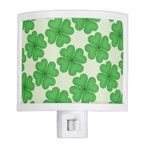 Green Shamrock Four leaf Clover Hearts pattern Night Light