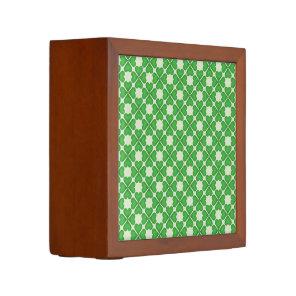 Green Shamrock Four leaf Clover Hearts pattern Pencil/Pen Holder