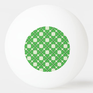 Green Shamrock Four leaf Clover Hearts pattern Ping-Pong Ball