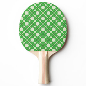 Green Shamrock Four leaf Clover Hearts pattern Ping-Pong Paddle