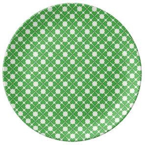 Green Shamrock Four leaf Clover Hearts pattern Plate