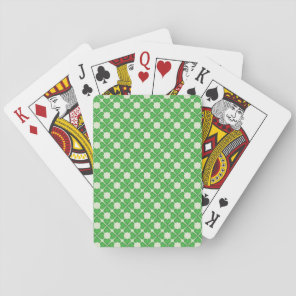 Green Shamrock Four leaf Clover Hearts pattern Playing Cards