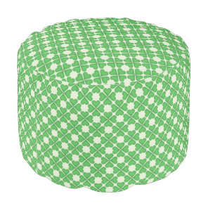 Green Shamrock Four leaf Clover Hearts pattern Pouf