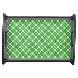Green Shamrock Four leaf Clover Hearts pattern Serving Tray