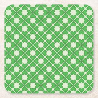 Green Shamrock Four leaf Clover Hearts pattern Square Paper Coaster