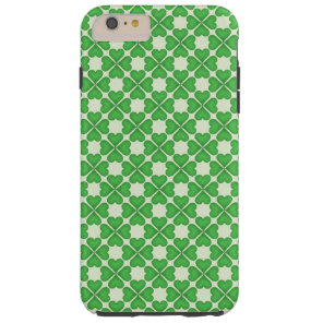 Green Shamrock Four leaf Clover Hearts pattern Tough iPhone 6 Plus Case