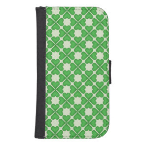 Green Shamrock Four leaf Clover Hearts pattern Wallet Phone Case For Samsung Galaxy S4