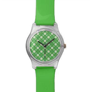 Green Shamrock Four leaf Clover Hearts pattern Wrist Watch