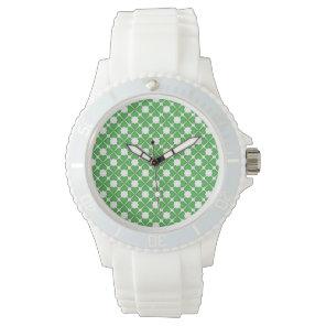 Green Shamrock Four leaf Clover Hearts pattern Wristwatch