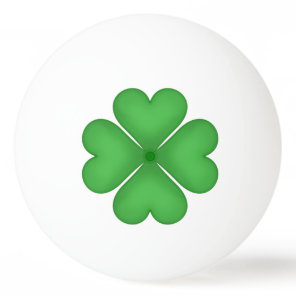 Green Shamrock Four leaf Clover Hearts Ping Pong Ball