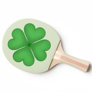 Green Shamrock Four leaf Clover Hearts Ping Pong Paddle