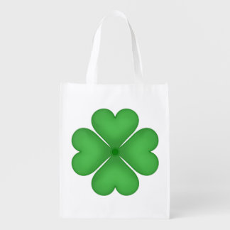 Green Shamrock Four leaf Clover Hearts Reusable Grocery Bag