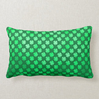 Green Shamrock Four Leaf Clover Irish Metallic Throw Pillow