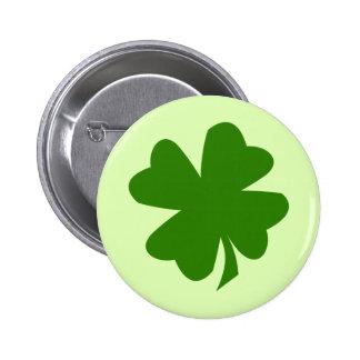 Green shamrock four leaf clover lucky St Patrick's Button