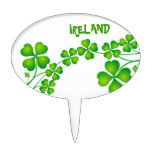 Green Shamrock From Ireland Cake Toppers