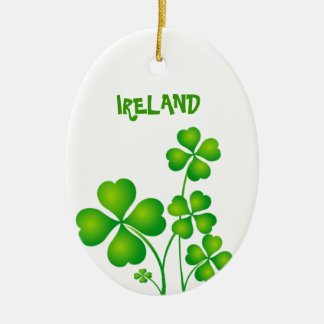Green Shamrock From Ireland Double-Sided Oval Ceramic Christmas Ornament