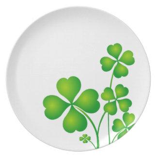 Green Shamrock From Ireland Dinner Plates