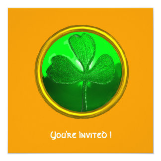 GREEN SHAMROCK GEMSTONE ,ST PATRICK'S DAY PARTY 5.25X5.25 SQUARE PAPER INVITATION CARD